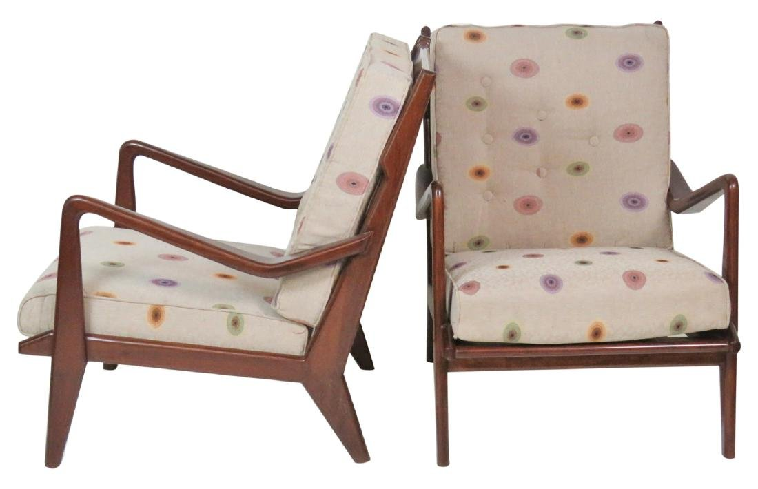 Pair MODERN DESIGN TEAK LOUNGE CHAIRS