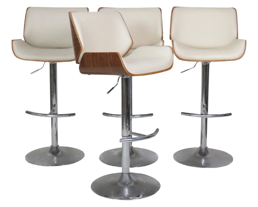 4 MODERN DESIGN CHROME SWIVEL BAR STOOLS