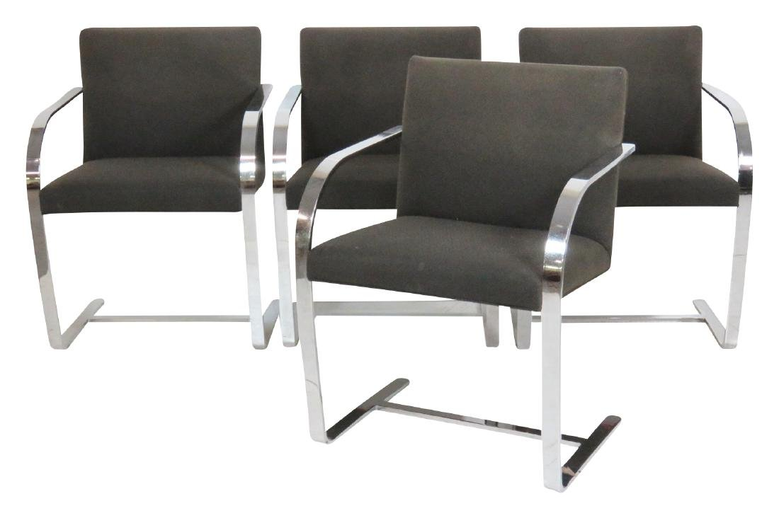 4 KNOLL BRUNO CHROME ARMCHAIRS