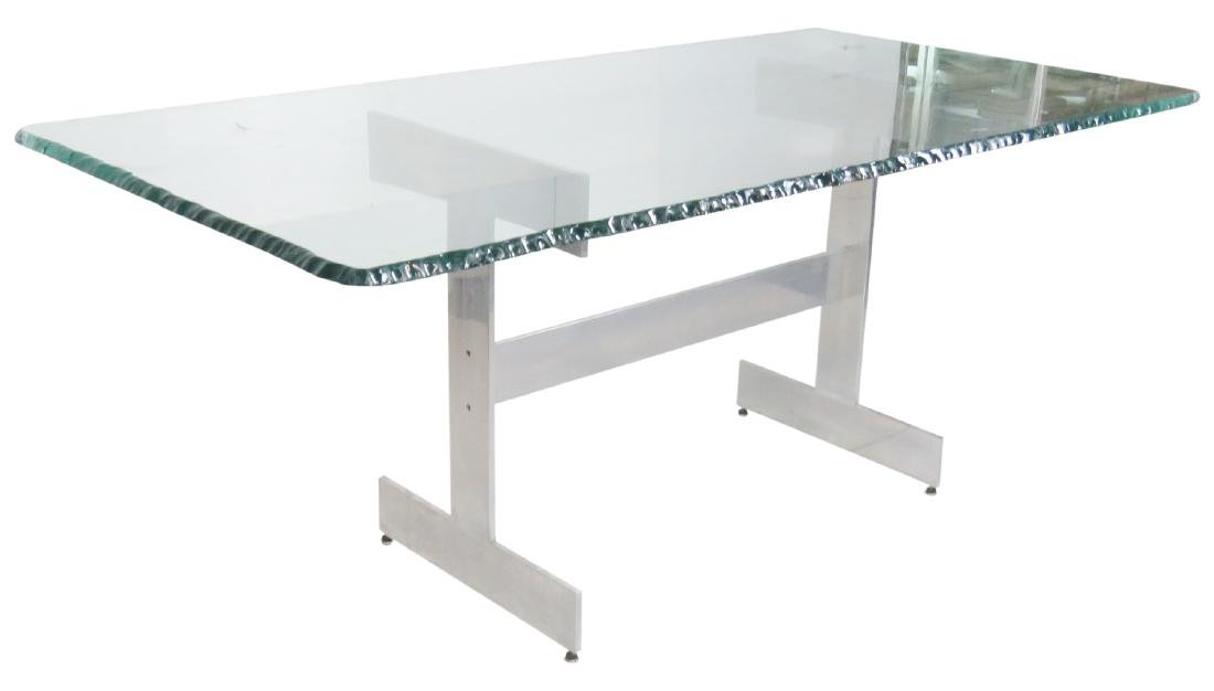 MILO BAUGHMAN STYLE CHROME & GLASSTOP DINING TABLE