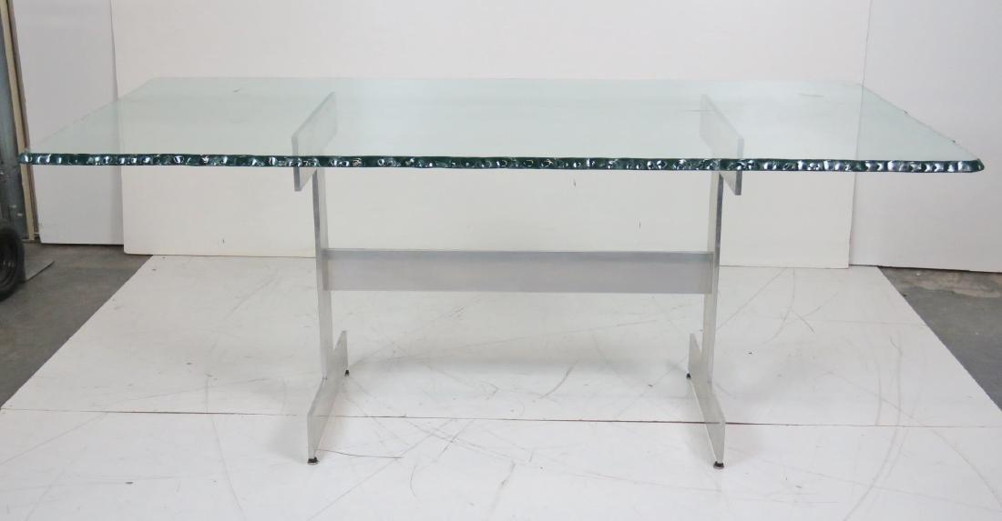 MILO BAUGHMAN STYLE CHROME & GLASSTOP DINING TABLE - 2