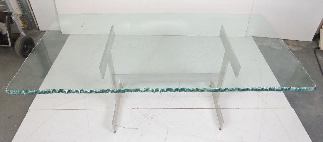 MILO BAUGHMAN STYLE CHROME & GLASSTOP DINING TABLE - 3