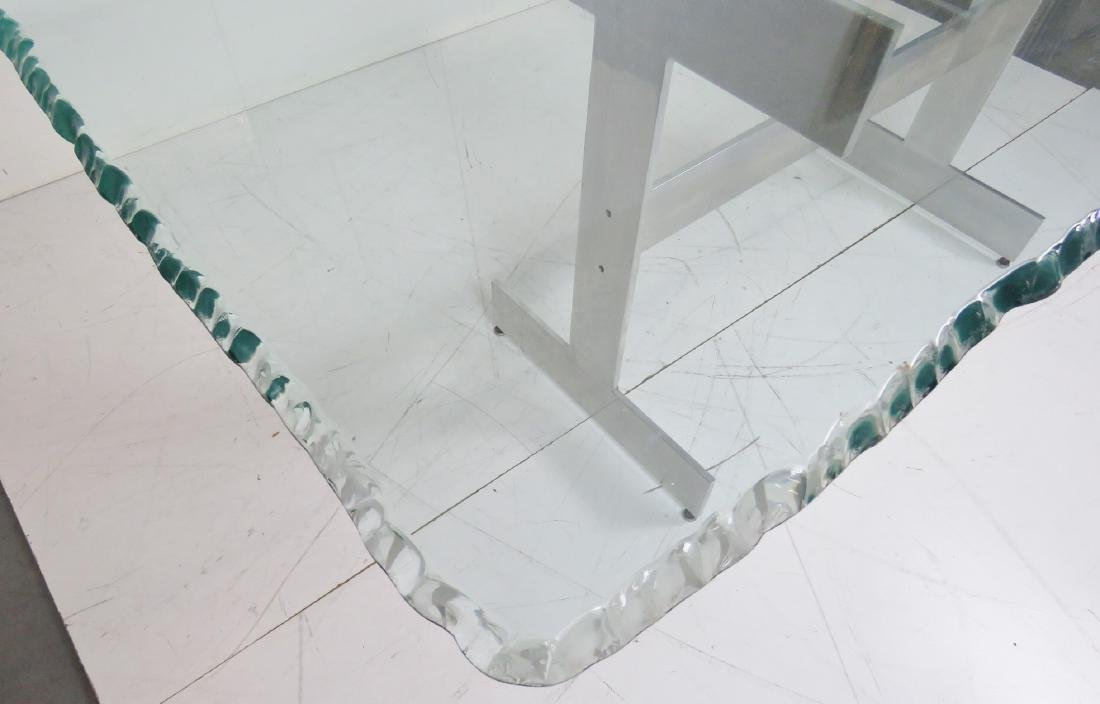 MILO BAUGHMAN STYLE CHROME & GLASSTOP DINING TABLE - 4