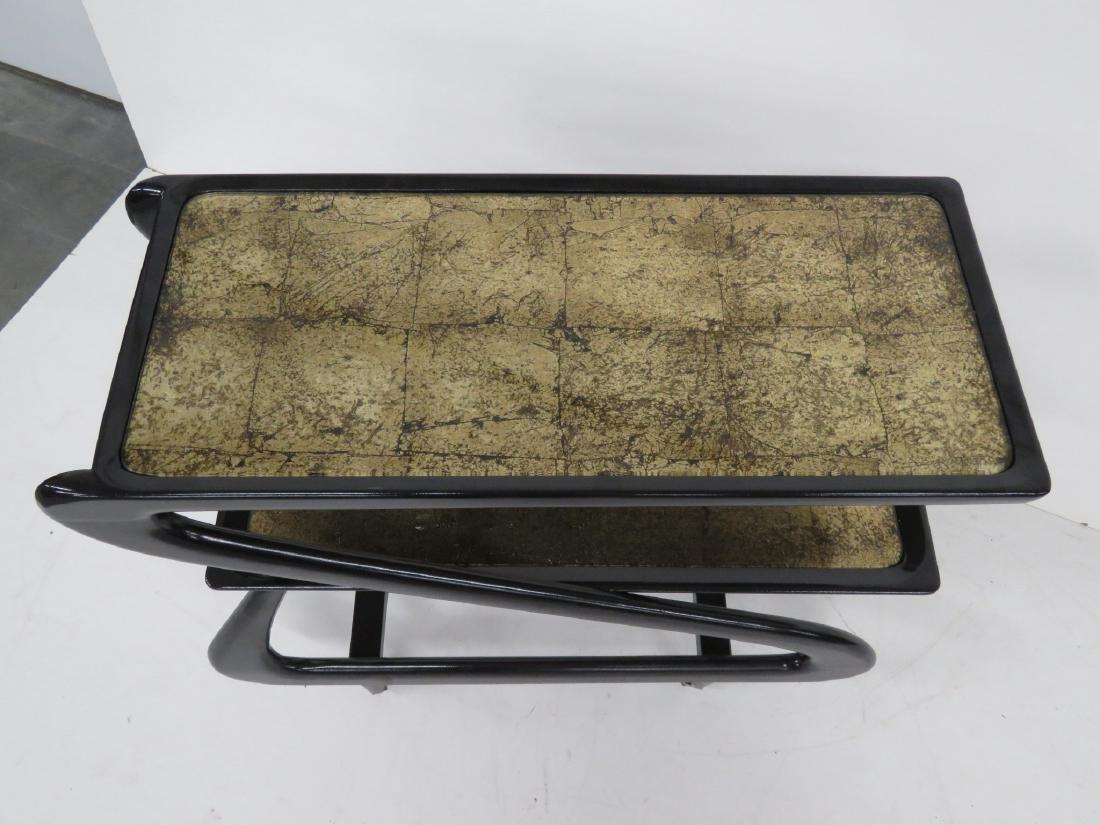 ZANUSO STYLE EBONIZED & GOLD LEAF BAR CART - 2
