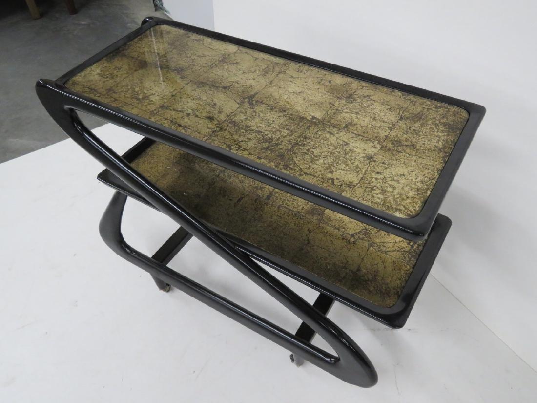 ZANUSO STYLE EBONIZED & GOLD LEAF BAR CART - 3