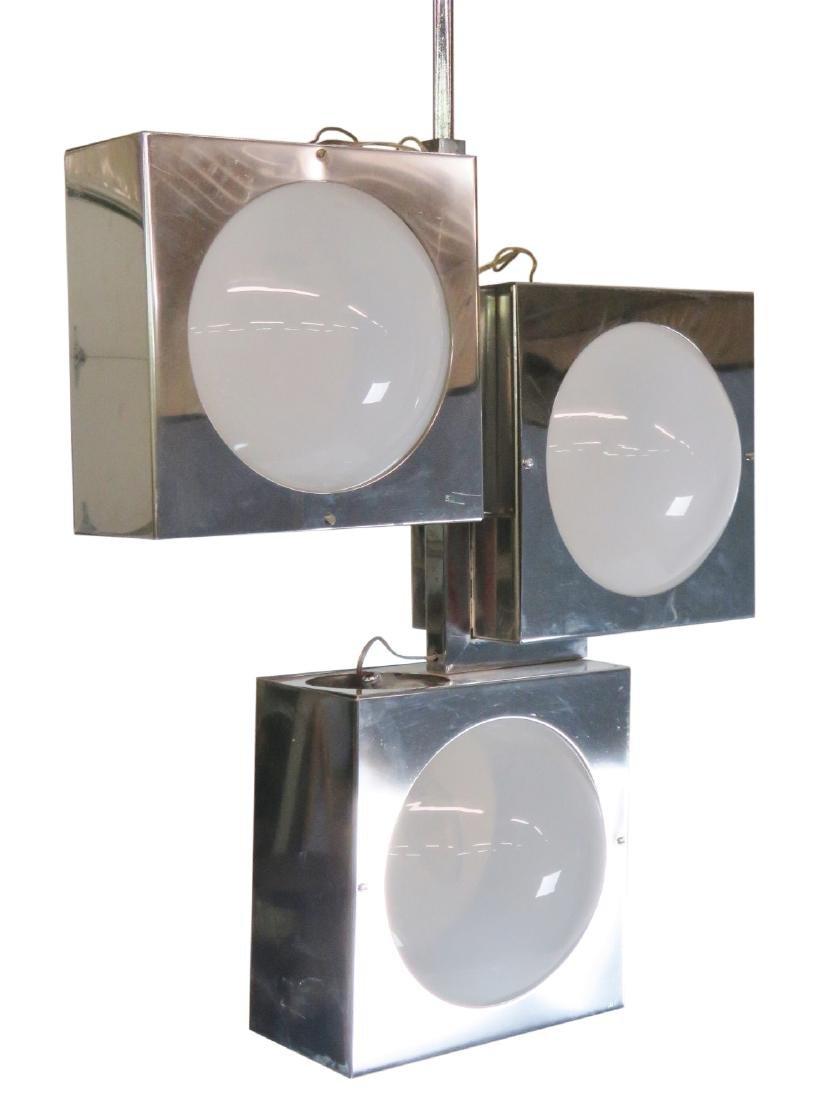 SCIOLARI CHROME & GLASS TRAFFIC LIGHT CHANDELIER
