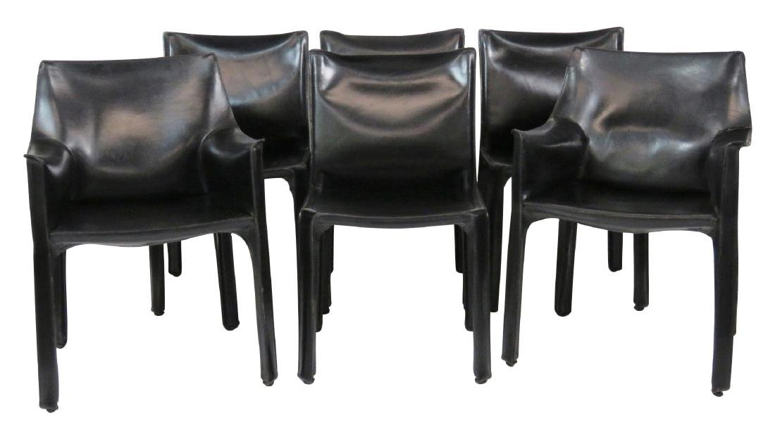 6 CASILLAS BLACK LEATHER DINING CHAIRS