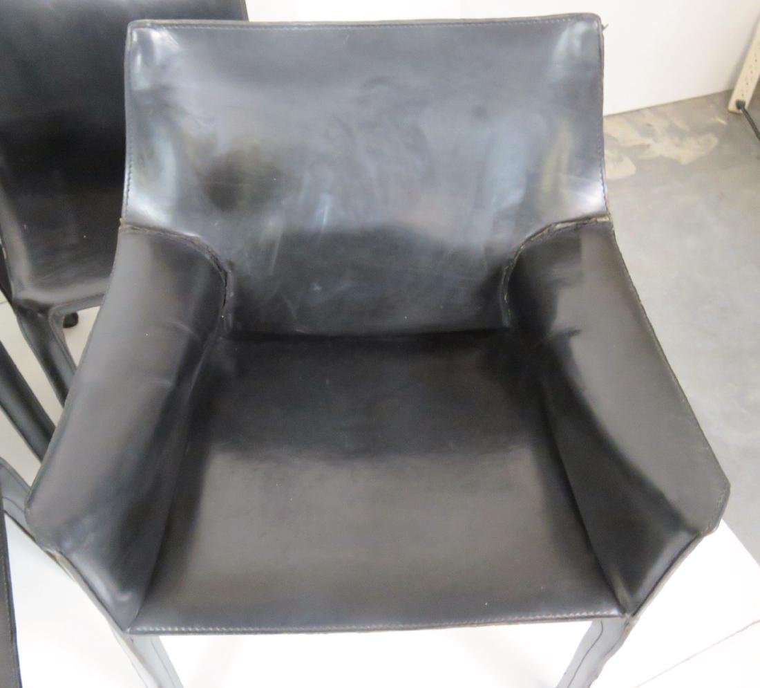 6 CASILLAS BLACK LEATHER DINING CHAIRS - 2