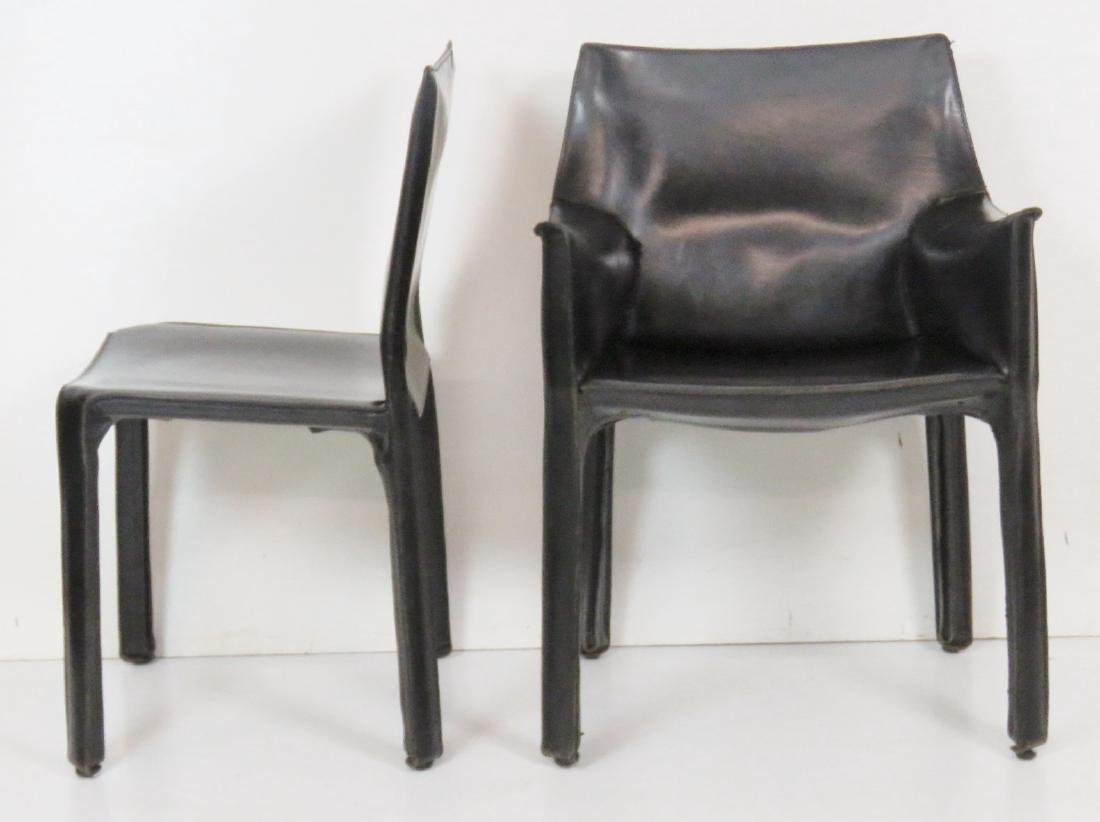 6 CASILLAS BLACK LEATHER DINING CHAIRS - 4