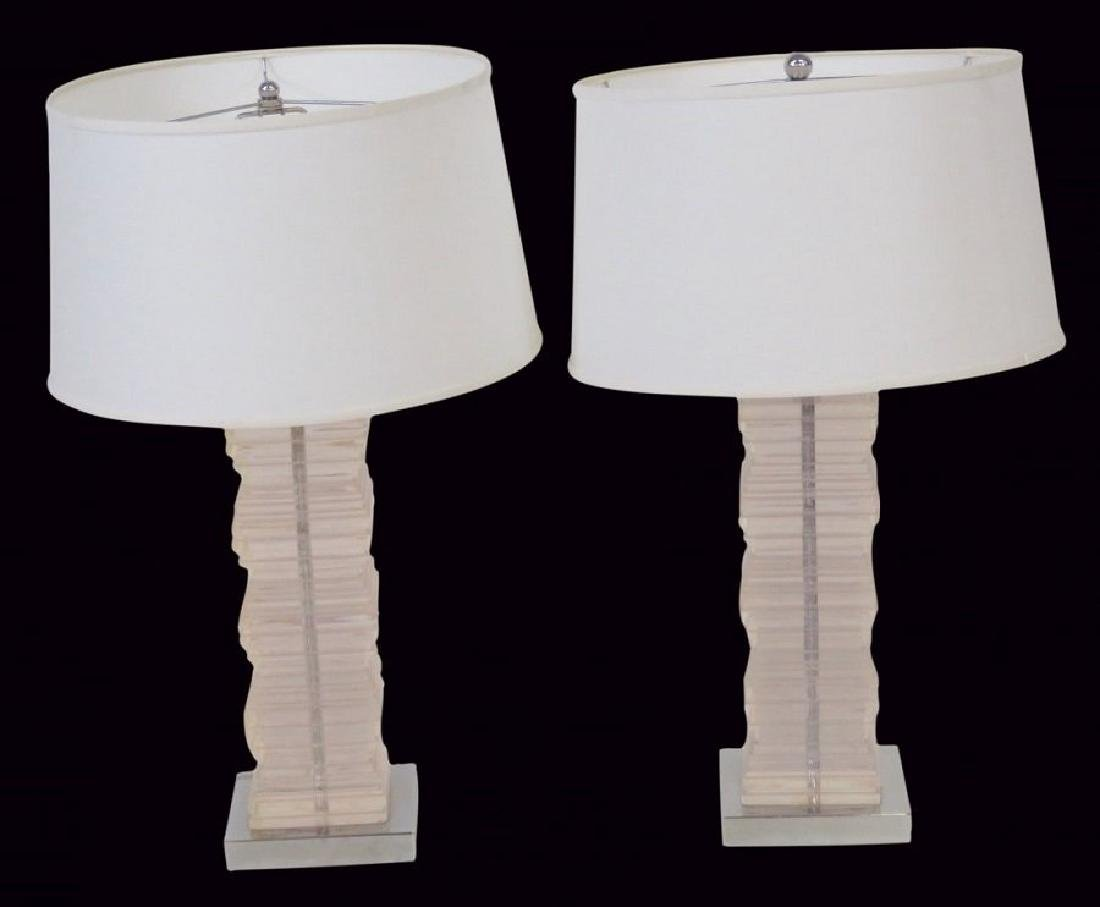 Pair MODERN DESIGN STACKED LUCITE TABLE LAMPS