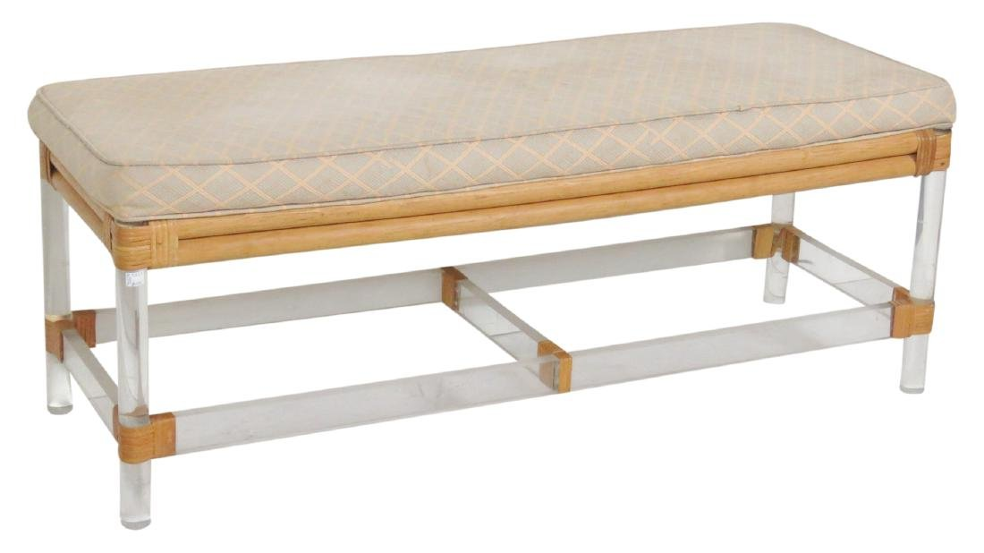 LUCITE UPHOLSTERED BENCH