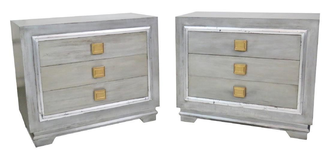 Pair JAMES MONT STYLE SILVER GILT CHESTS