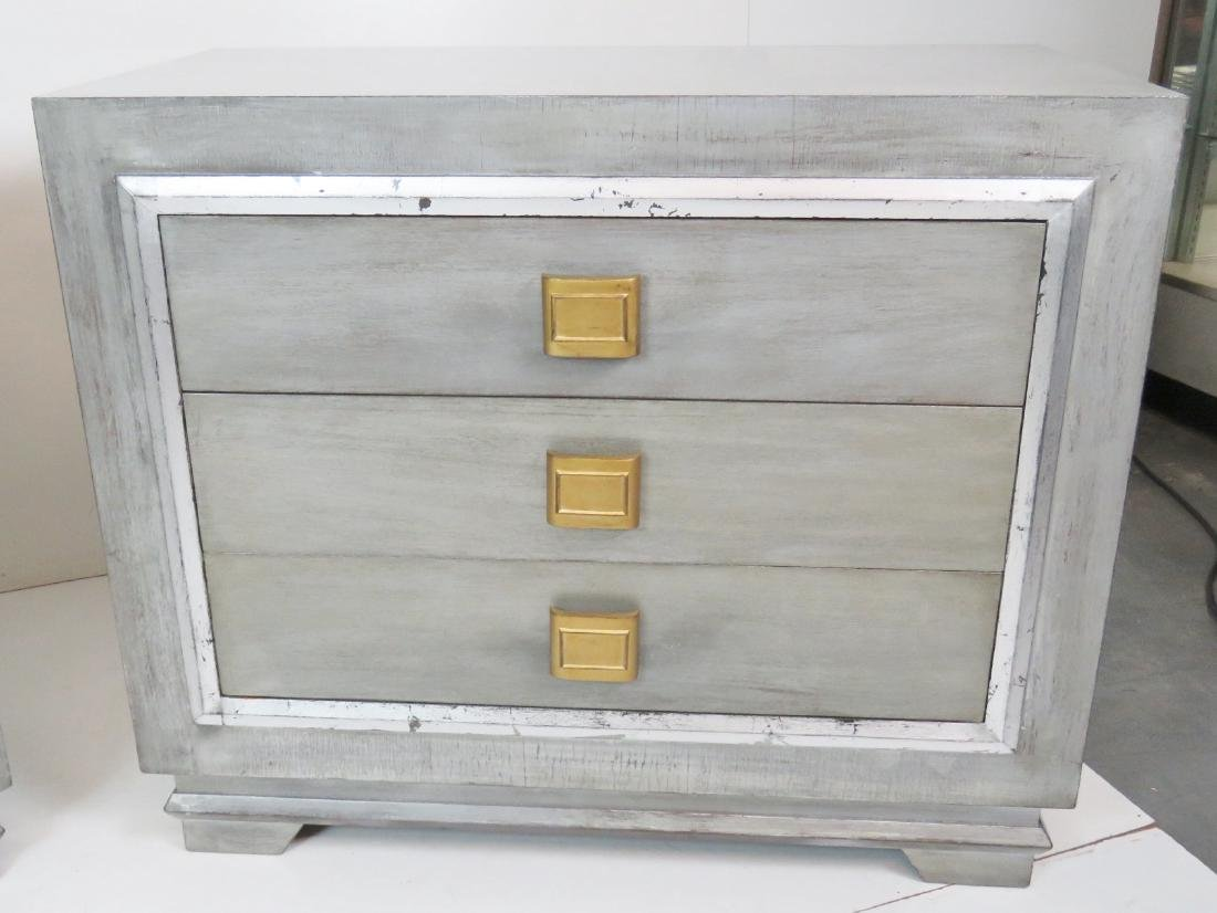 Pair JAMES MONT STYLE SILVER GILT CHESTS - 3