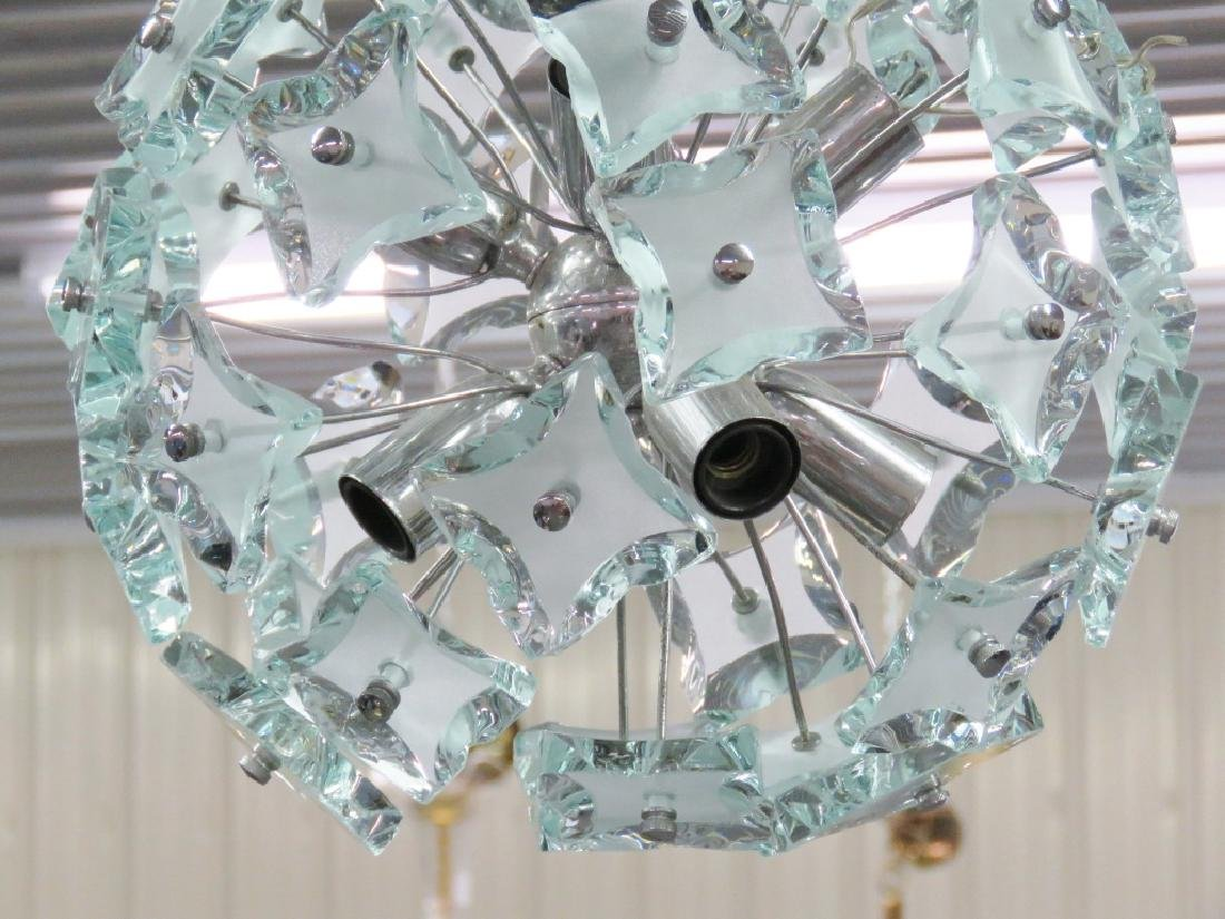 ITALIAN MODERN CHROME & GLASS SPUTNIK CHANDELIER - 2