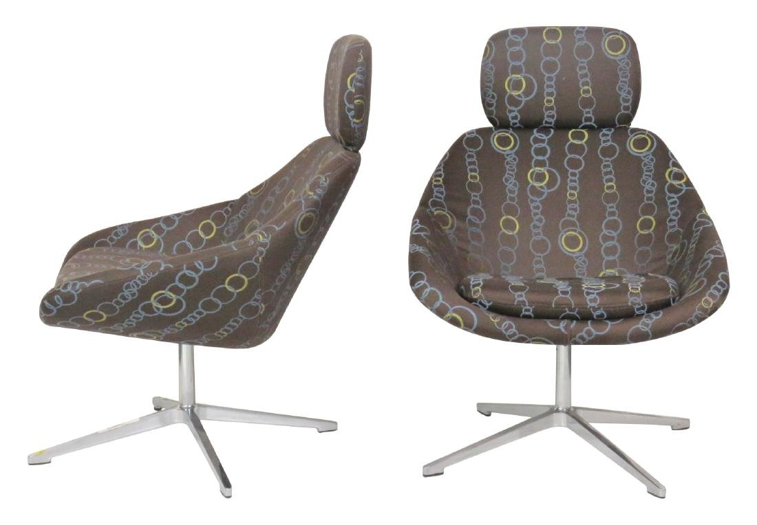 Pair MODERN DESIGN CHROME SWIVEL LOUNGE CHAIRS