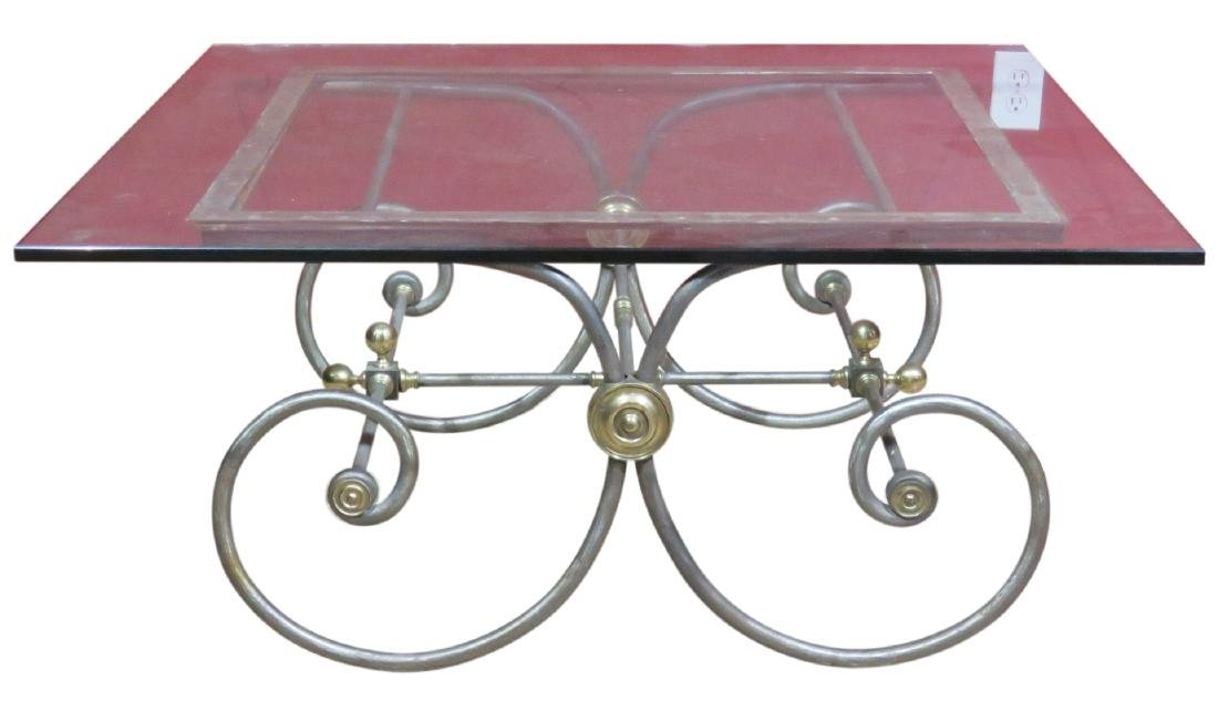 DIRECTOIRE STYLE CHROME & BRASS GLASSTOP COFFEE TABLE