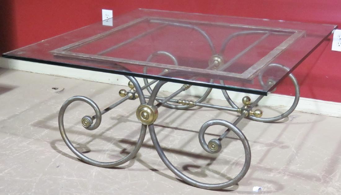 DIRECTOIRE STYLE CHROME & BRASS GLASSTOP COFFEE TABLE - 2