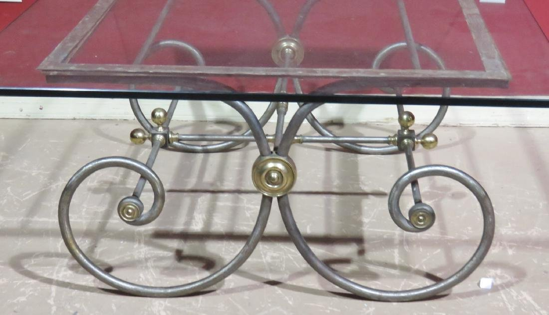 DIRECTOIRE STYLE CHROME & BRASS GLASSTOP COFFEE TABLE - 3