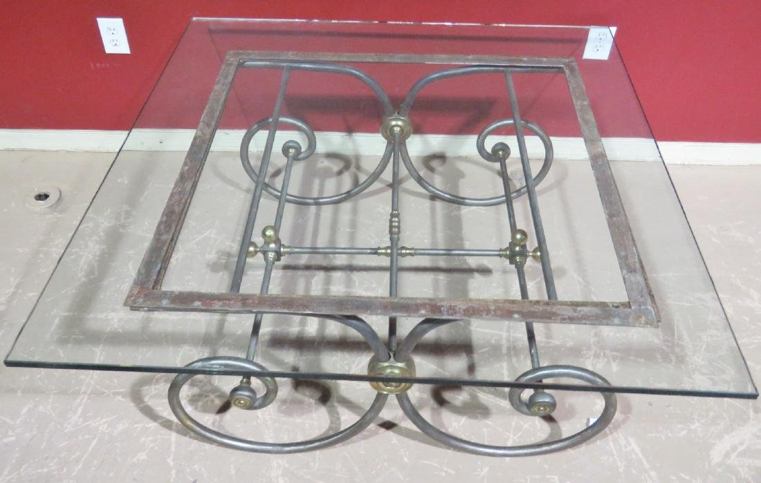 DIRECTOIRE STYLE CHROME & BRASS GLASSTOP COFFEE TABLE - 4
