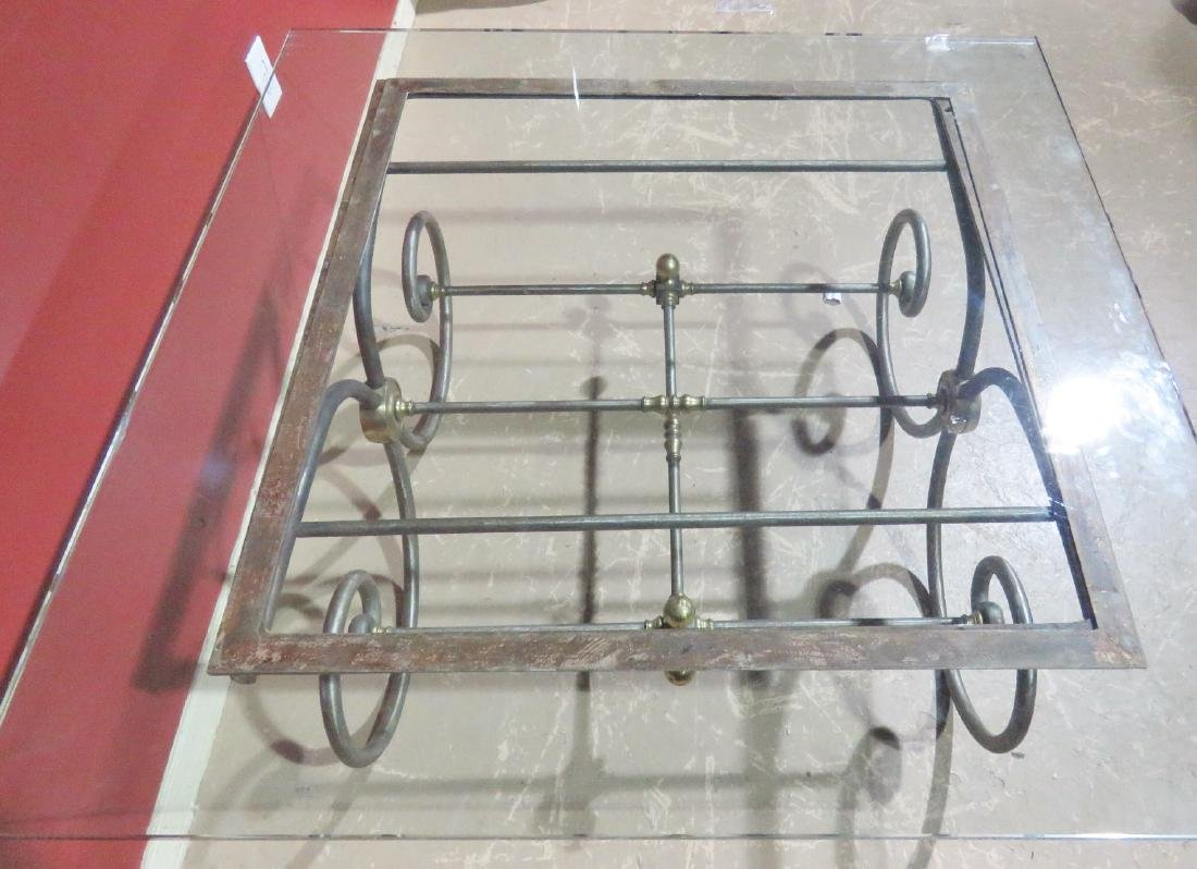 DIRECTOIRE STYLE CHROME & BRASS GLASSTOP COFFEE TABLE - 5