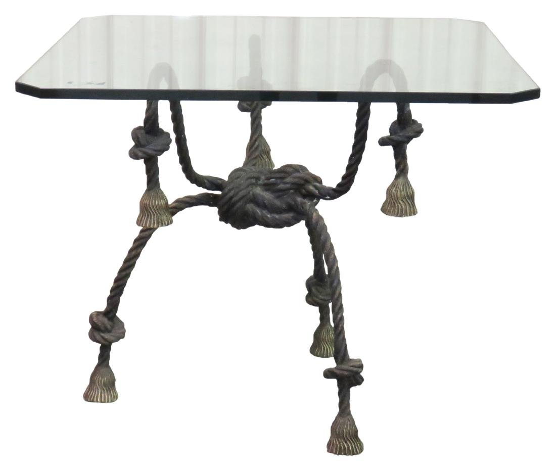 DIRECTOIRE STYLE ROPE TASSELED GLASSTOP CENTER TABLE