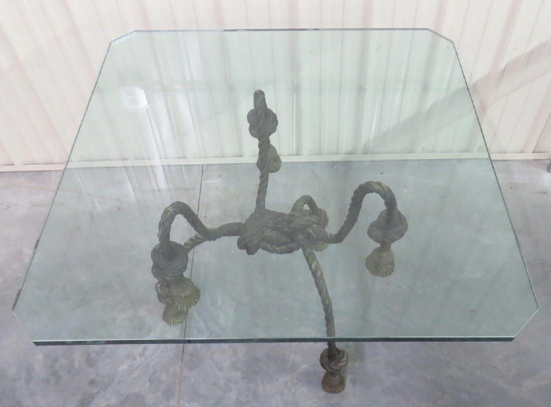 DIRECTOIRE STYLE ROPE TASSELED GLASSTOP CENTER TABLE - 3