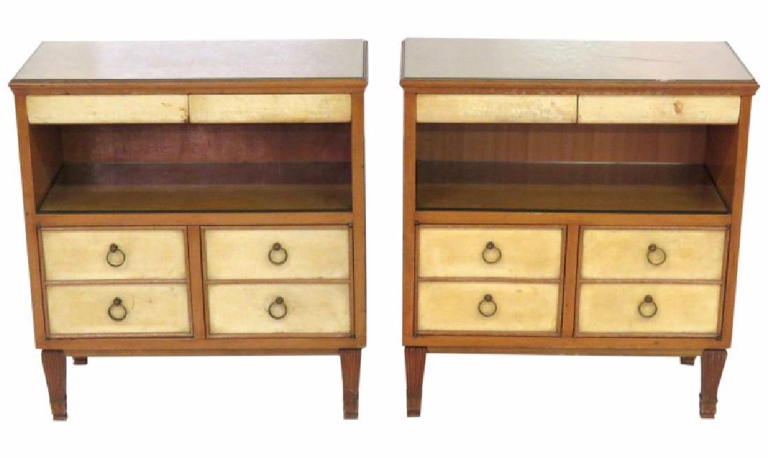 Pair MID CENTURY REGENCY STYLE PARCHMENT STANDS