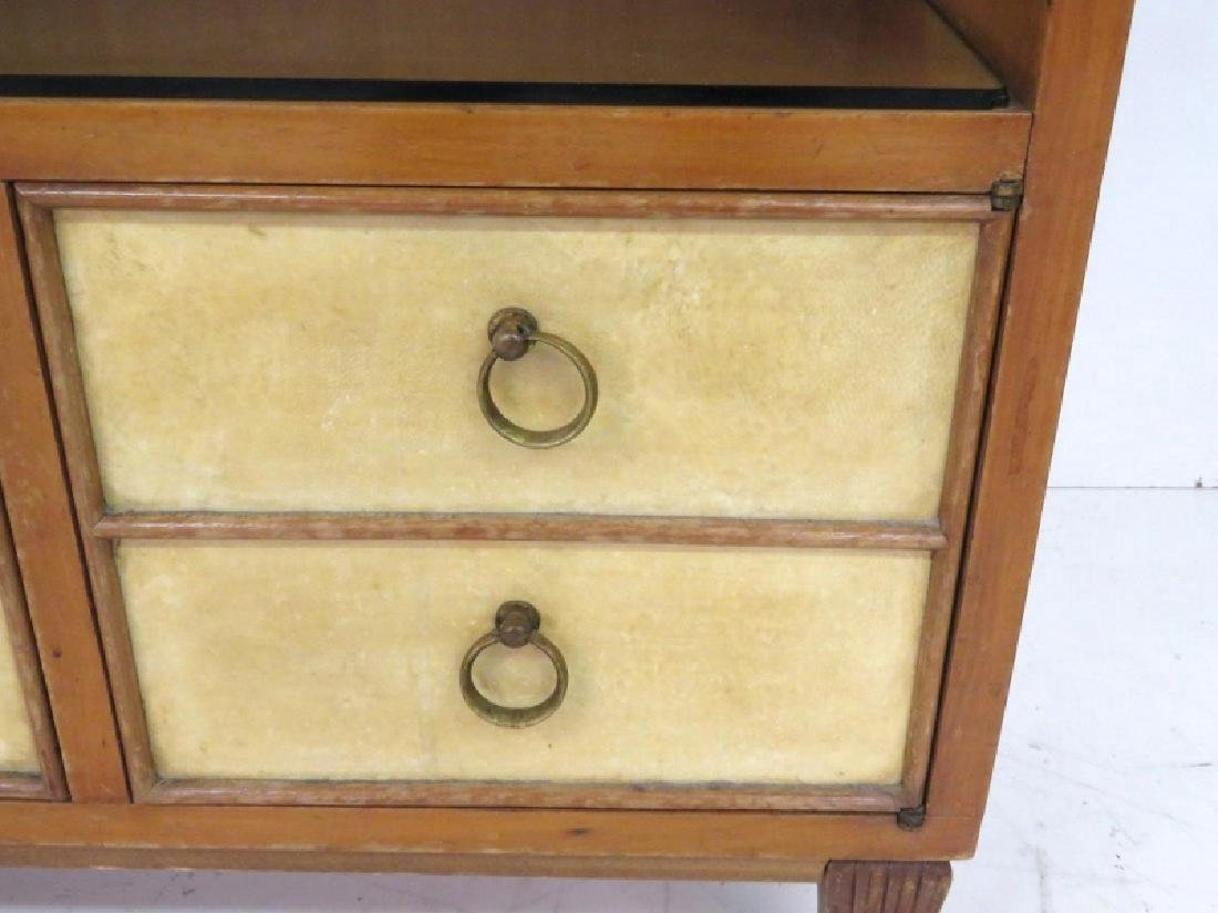 Pair MID CENTURY REGENCY STYLE PARCHMENT STANDS - 3