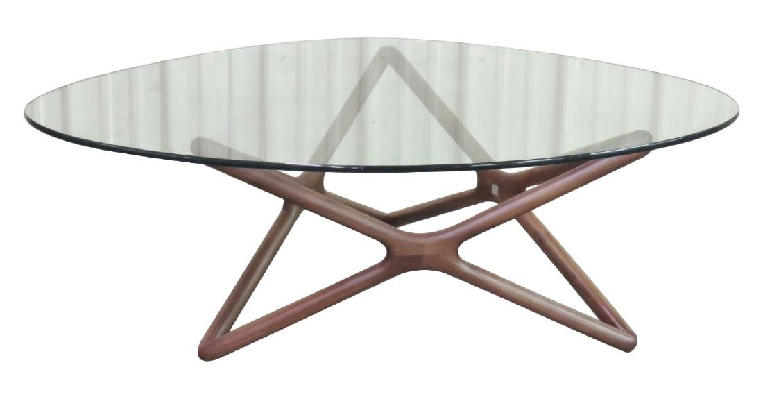 ADRIAN PEARSALL STYLE GLASSTOP COFFEE TABLE