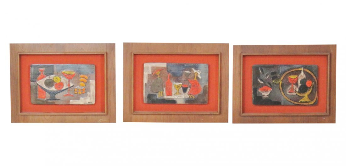 3 STIA FRAMED PAINT DECORATED TILES