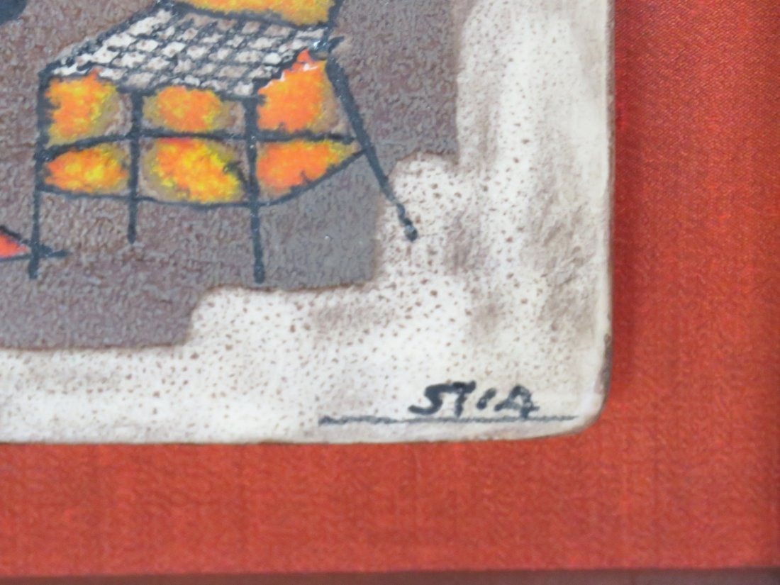 3 STIA FRAMED PAINT DECORATED TILES - 5