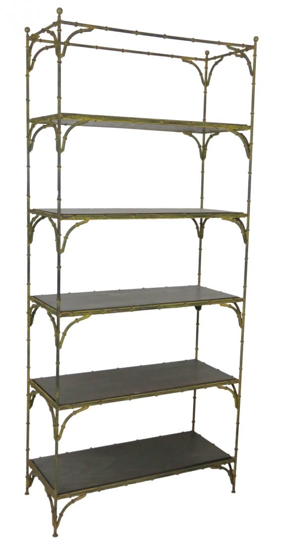 DISTRESSED PAINTED FAUX BAMBOO METAL ETAGERE