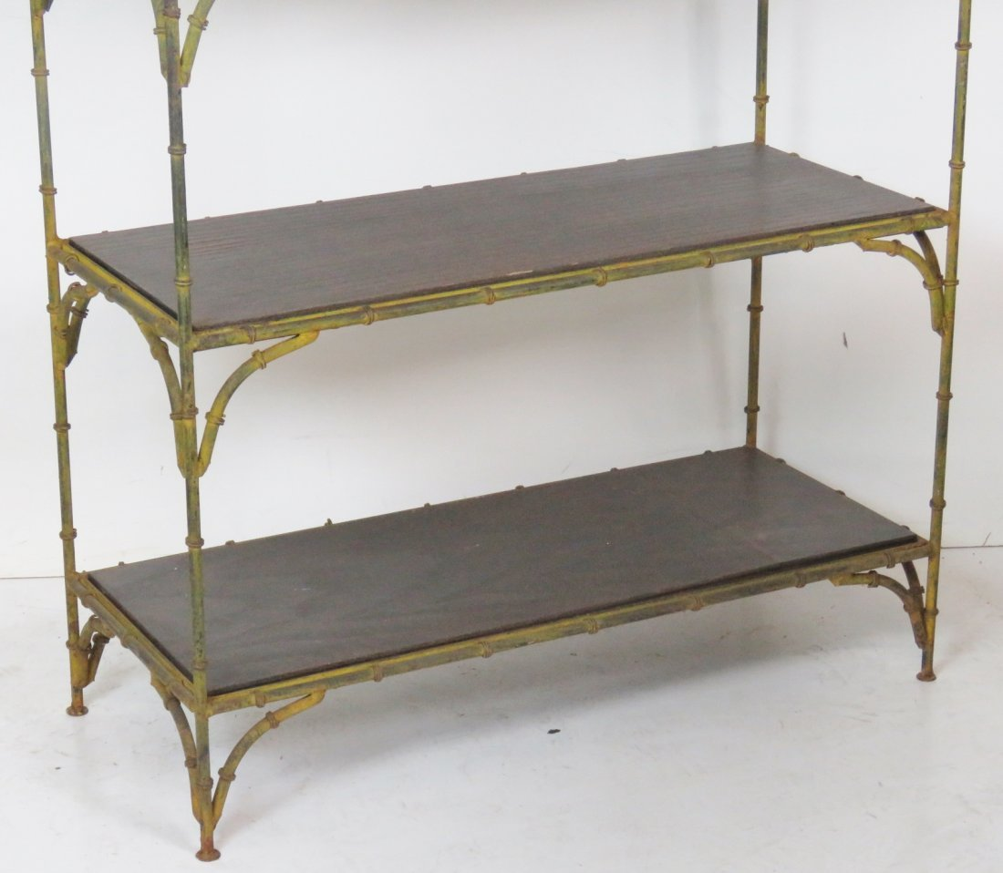 DISTRESSED PAINTED FAUX BAMBOO METAL ETAGERE - 2
