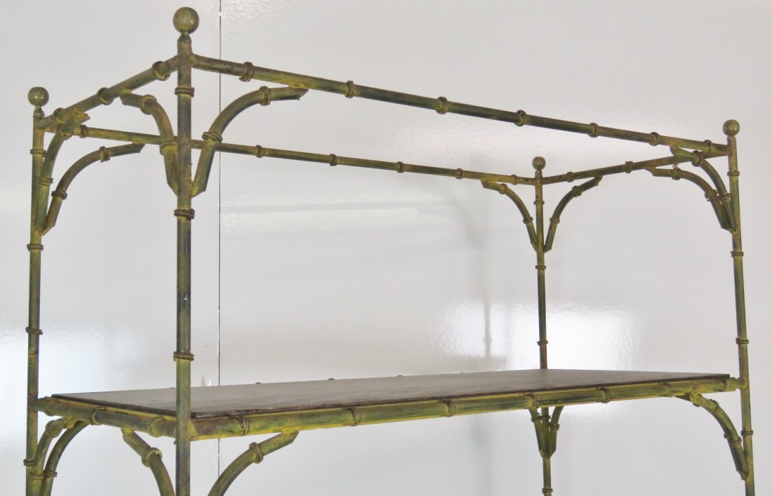 DISTRESSED PAINTED FAUX BAMBOO METAL ETAGERE - 3