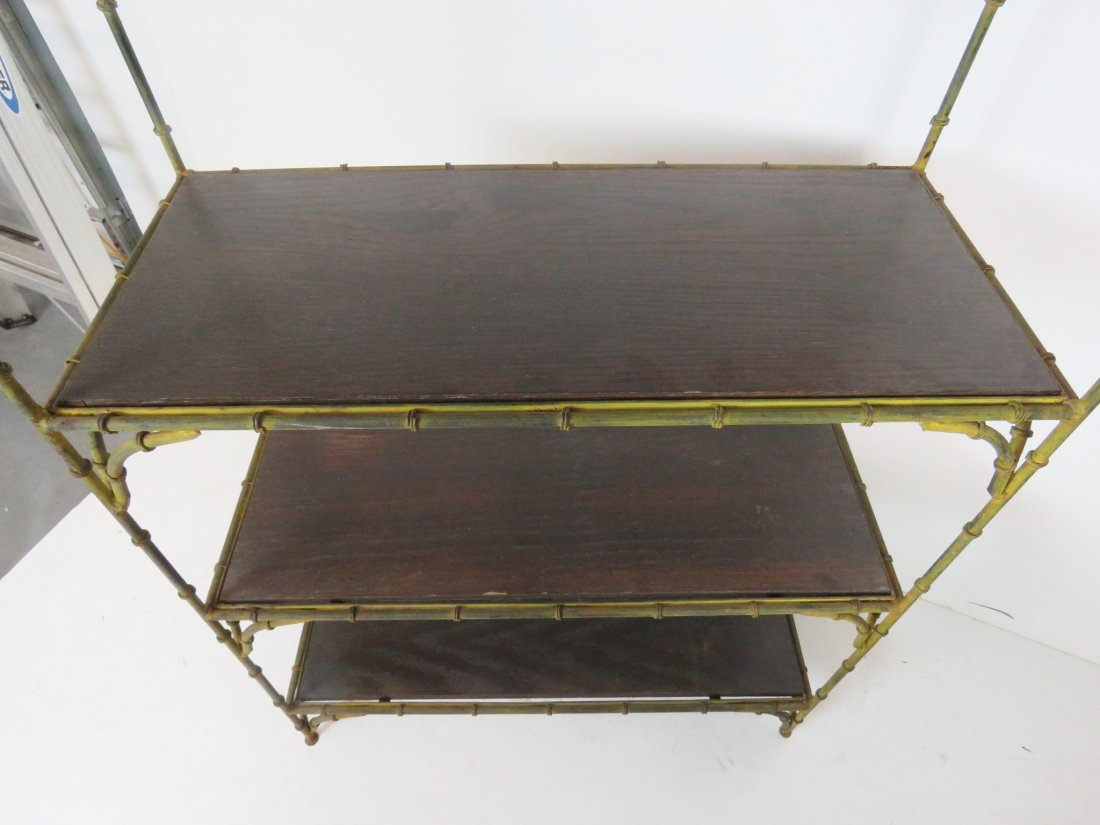 DISTRESSED PAINTED FAUX BAMBOO METAL ETAGERE - 4