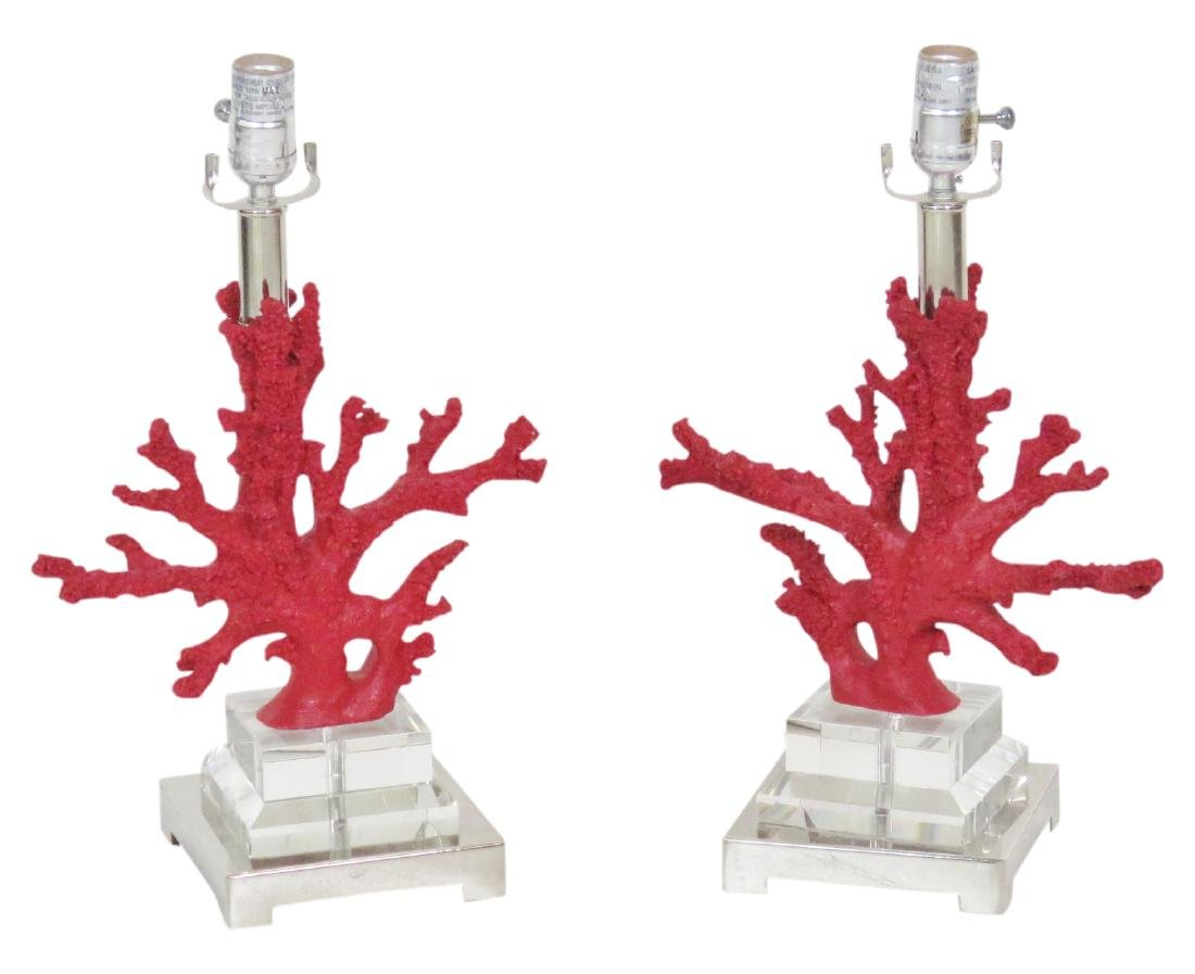 Pair RED CORAL & LUCITE TABLE LAMPS