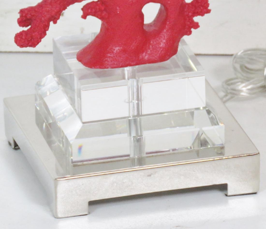 Pair RED CORAL & LUCITE TABLE LAMPS - 4