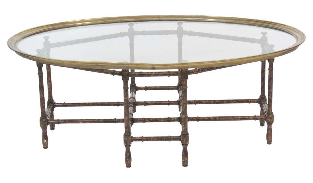 FAUX BAMBOO GLASSTOP TRAY COFFEE TABLE