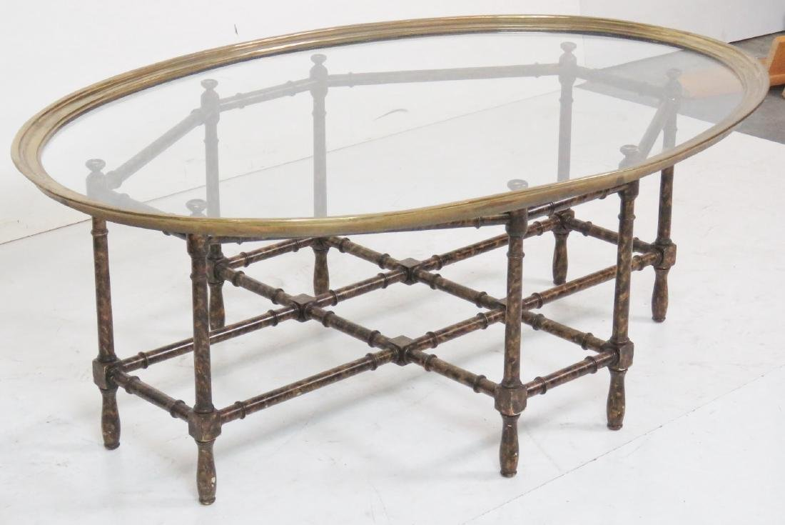 FAUX BAMBOO GLASSTOP TRAY COFFEE TABLE - 2