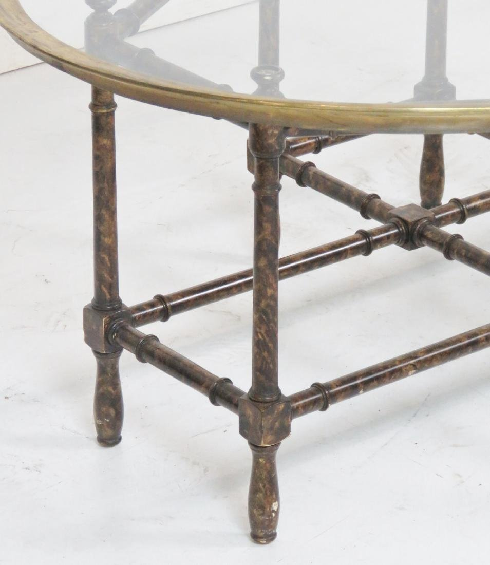 FAUX BAMBOO GLASSTOP TRAY COFFEE TABLE - 3