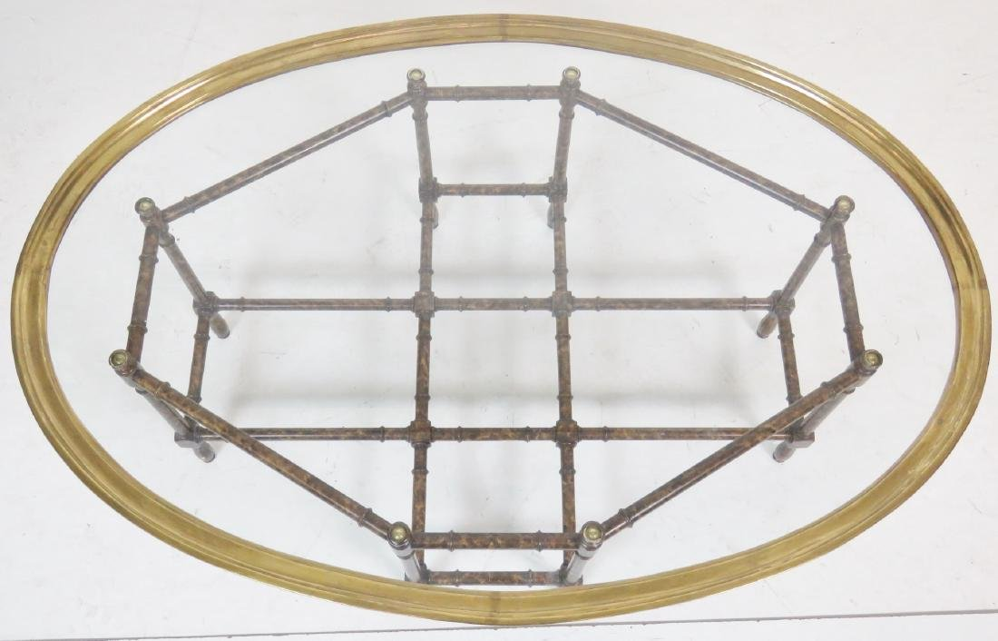 FAUX BAMBOO GLASSTOP TRAY COFFEE TABLE - 4