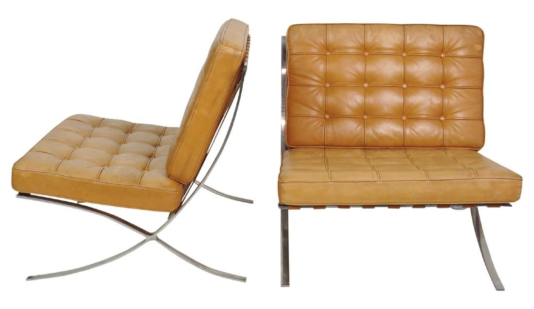 Pair MIES VAN DER ROHE STYLE BARCELONA LOUNGE CHAIRS