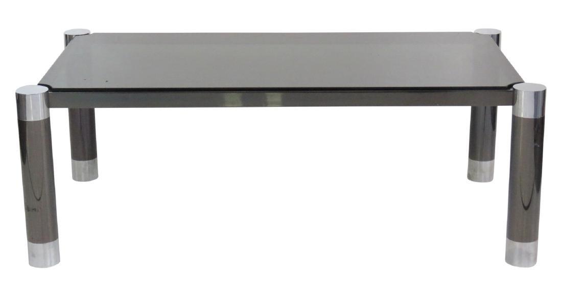 MODERN DESIGN METAL & CHROME GLASSTOP COFFEE TABLE