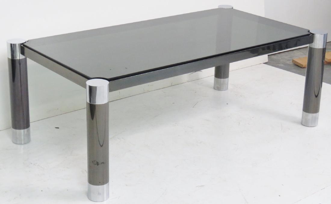 MODERN DESIGN METAL & CHROME GLASSTOP COFFEE TABLE - 2