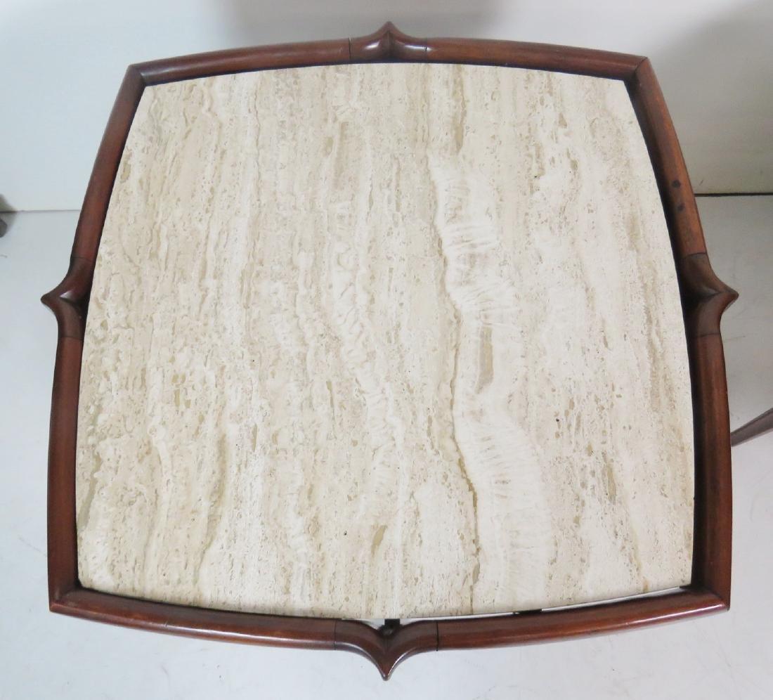 Pair BERTHA SCHAFER TRAVERTINE MARBLETOP SIDE TABLES - 3