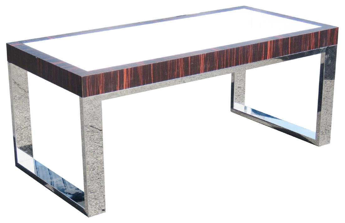 MILO BAUGHMAN STYLE CHROME & ROSEWOOD COFFEE TABLE