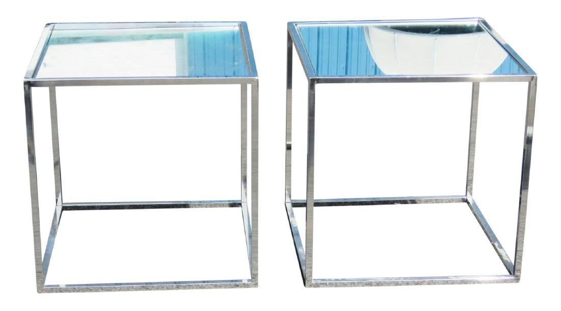Pair CHROME & MIRRORED SIDE TABLES