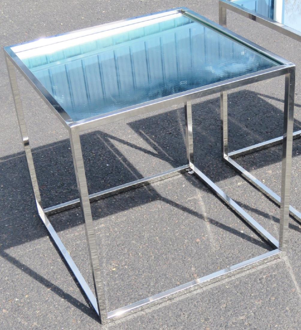 Pair CHROME & MIRRORED SIDE TABLES - 2