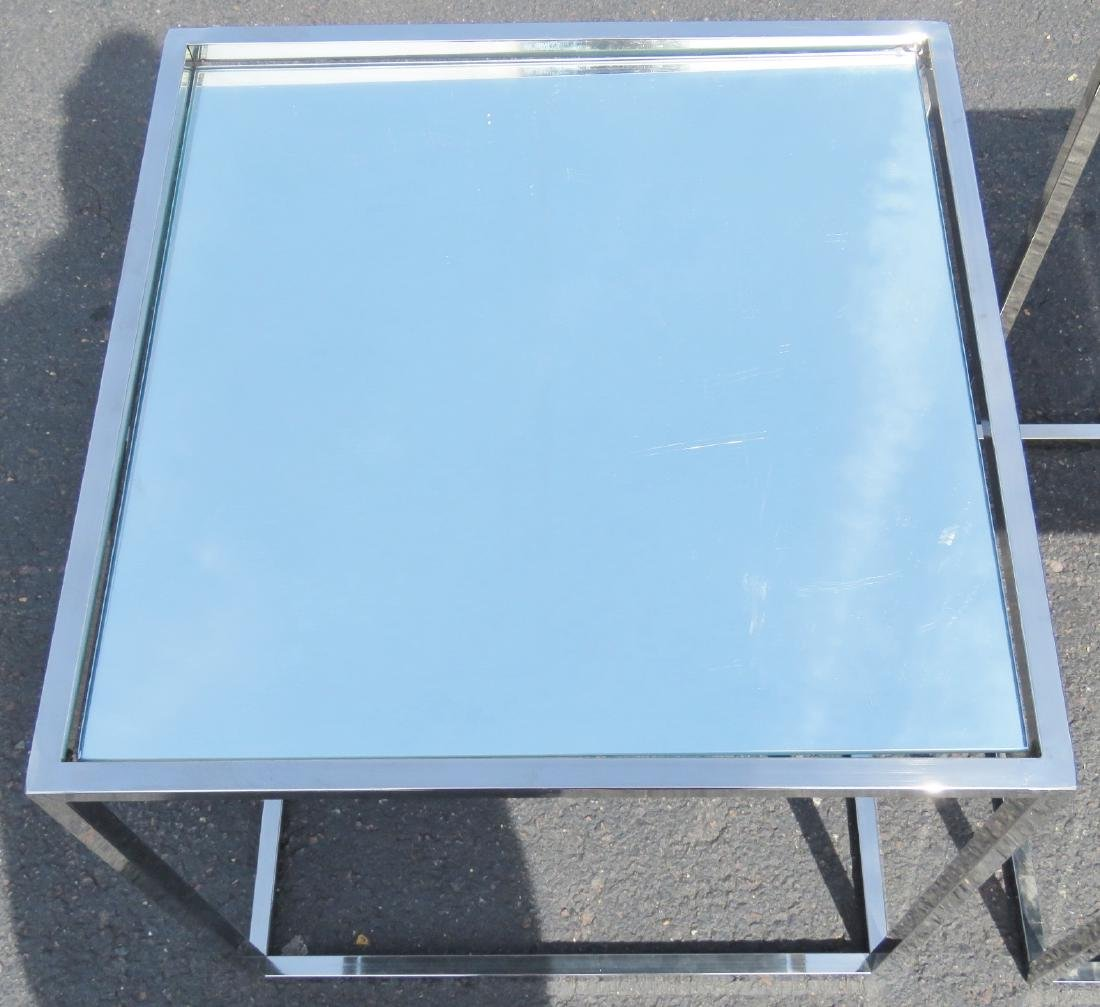 Pair CHROME & MIRRORED SIDE TABLES - 3
