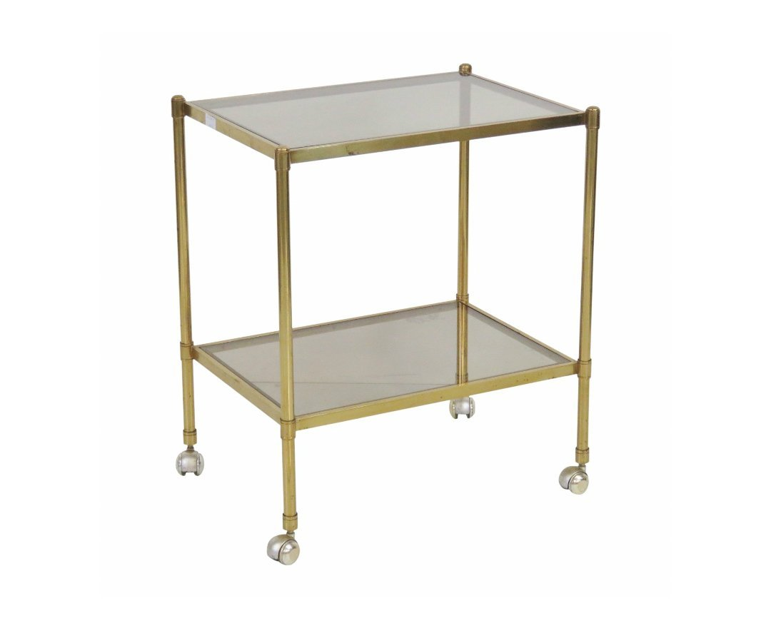 MID CENTURY MODERN BRASS & GLASS BAR CART